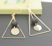 Leiothrix Vintage Triangle Black Wooden Bead Paillette Earrings for Women and Girls Apply to Party and Casual