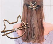 Leiothrix All-match Golden Cat Hair Clips with Pearl for Women and Girls Apply to Party and Casual