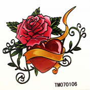 MapofBeauty Red Rose and Heart-shaped Temporary Waterproof Body Tattoo Sticker