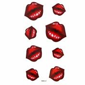 MapofBeauty Sexy Red Lip Prints Temporary Waterproof Tattoo Sticker