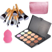 Vodisa 15 Colour Ultra Contour Kit-Face Contouring and Highlighter Palette-Beauty Cosmetics Cream Makeup Blemish Concealer Palette with Professional 11pcs Bamboo Make Up Brushes Set-Makeup Sponge Puff