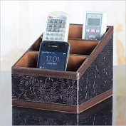 Asobilor Retro Carved PU Leather Remote control/controller TV Guide/mail/CD organiser/caddy/holder