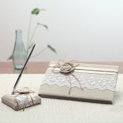 KateMelon Wedding Accessories Lace and Rustic Guest Book and Pen Set
