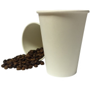 100 x 240ml White Paper Cups Single Wall Disposable Tea Coffee Cappuccino Hot Drinks