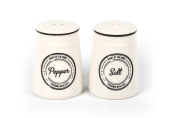Heart of the Home Ceramic Salt and Pepper Set Ivory White and Black