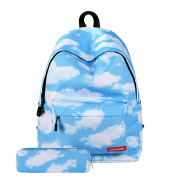 Urmiss Cute Star Clouds Striped Lightweight School Backpack Bookbag with Pencil Case for Boys Girls and Kids