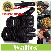 WALFOS Heat Resistant Silicone rubber BBQ Grill Glove, Glove-Kitchen Oven glove