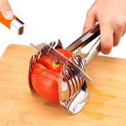 Ovoware Tomato Slicer Lemon Cutter Multipurpose Handheld Round Fruit Tongs Stainless Steel Onion Holder Easy Slicing Kiwi Fruits & Vegetable Tools Kitchen Cutting Aid Gadgets Tool
