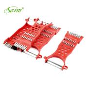 Saim 4 Pcs Kitchen Helper Multipurpose Metal Vegetable Slicer Cutter Peeler Red