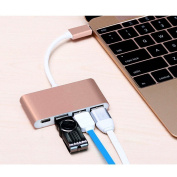 Stoga Type-C Hub Adapter 4 in 1 design 2 USB 2.0 port, 1 USB SuperSpeed 3.0 port, 1 Type-C Port for Apple and Other Type-C devices--Pink