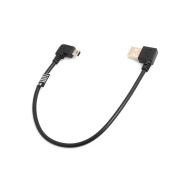 SYSTEM-S Mini USB 90° Left Angled to USB Type A (Male) 90° Left Angled Cable 26 cm