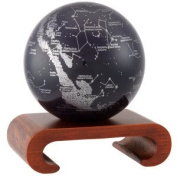 11cm Silver and Black Constellations MOVA Globe with Arched Base in Natural Wood