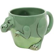 3-D Shaped T-Rex Dinosaur Design Ceramic Mug / Novelty Cup / Decorative Drinkware, Green - MyGift Home