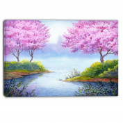 "Designart PT6034-100cm - 80cm FLOWERING Trees Over Lake Landscape"" Canvas Artwork, Pink, 100cm x 80cm"