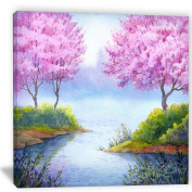 "Designart PT6034-80cm - 80cm FLOWERING Trees Over Lake Landscape"" Canvas Artwork, Pink, 80cm x 80cm"