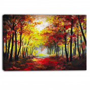 "Designart PT6021-100cm - 80cm Walk through Autumn Forest Landscape"" Canvas Artwork, Red, 100cm x 80cm"