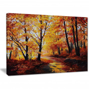 "Designart PT6022-100cm - 80cm Forest in Autumn Landscape"" Canvas Artwork, Yellow, 100cm x 80cm"