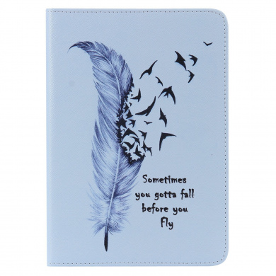 For iPad Mini1/2/3 Case,iPad Mini1/2/3 Wallet Case,EC-touch Simple Beautiful Colourful Flower [Magnetic] Style PU Leather Case Wallet Flip Stand [Flap Closure] Cover for iPad Mini1/2/3 (Blue feathers)