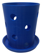 HD PRINTABLES Orchid Pot and Tray, Blue, 11cm L