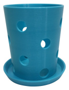 HD PRINTABLES Orchid Pot and Tray, Turquoise, 11cm L