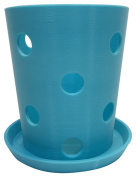 HD PRINTABLES Orchid Pot and Tray, Turquoise, 14cm L