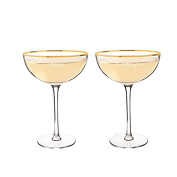 Personalised 240ml Gold Rim Coupe Flutes