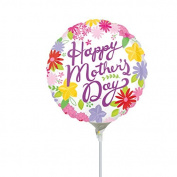 Anagram Cheerful Mothers Day Mini Foil Balloons on Sticks