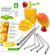 Ankooki Stainless Steel Metal Drinking Straws, Set of 6 (4 Bent - 1 Extra Long - 1 Extra Wide) + Cleaning Brush, Reusable, BPA Free, Eco Friendly, Great for Tumblers like the 20 + 890ml Yeti Rambler