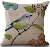 Birds Flower Greenery Throw Pillow Case Vintage Cushion Cover Pillowcase Gift 18 18 Hidden Zipper Pillow Cover
