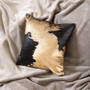 Ankit 41cm x 41cm Gold Black Flip Sequin Pillow Stress Relieving, Relax Your Mood with Magical Boost, Anti-Anxiety, Anti Stress & Anti Depression Therapeutic Colour Changing Mermaid Throw Pillows.