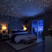 Glow In The Dark Stars Wall Stickers,252 Dots and Moon for Starry Sky, Perfect For Kids Bedding Room or Birthday Gift ,Beautiful Wall Decals by LIDERSTAR ,Delight The One You Love.