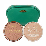 Two Piece 15ml Rimmel Kit with Natural Bronzer (Sun Bronze) and Stay Matte Pressed Powder (Natural) with Sea Green Draizee Leather Cosmetic Bag