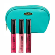 Rimmel 'Oh My Gloss' Lipgloss Kit in Three Shades (5ml Each), Pin Up, Stay My Rose and Timeless Allure with a Aquamarine Cosmetic Bag by Draizee