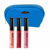 Rimmel 'Oh My Gloss' Lipgloss Kit in Three Shades (5ml Each), Stay My Rose, Rebel Red and Go Gloss or Go Home with a Deep Blue Cosmetic Bag by Draizee