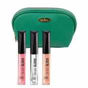 Rimmel 'Oh My Gloss' Lipgloss Kit in Three Shades (5ml Each), Keep A Secret, Crystal Clear and Non Stop Glamour with a Sea Green Cosmetic Bag by Draizee