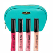 Rimmel 'Oh My Gloss' Lipgloss Kit in Four Shades (5ml Each), Pin Up, Keep A Secret, Non Stop Glamour and Stay My Rose with a Aquamarine Cosmetic Bag by Draizee