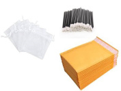 Cosmetic Distributor Starter Kit with (100) Disposable Lip Gloss Applicator, (100) 4x6 Organza Bags, and (30) 4x8 Padded Mailing Envelopes