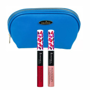 Rimmel 'Provocalips' Kissproof Lipstick Kit in Two Shades (5ml Each), Play with Fire and Skinny Dipping with Deep Blue Draizee Leather Cosmetic Bag