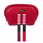Rimmel 'Provocalips' Kissproof Lipstick Kit in Two Shades (5ml Each), Kiss Me You Fool and Kiss Fatal with Deep Red Draizee Leather Cosmetic Bag
