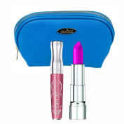 Two Piece Rimmel Kit with Moisture Renew Lipstick Back to Fuchsia and Stay Glossy Lipgloss Stay My Rose with Deep Blue Draizee Leather Cosmetic Bag