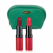 Rimmel Lasting Finish Lipstick (5ml Each) with Two Shades; 107 and 110 with Sea Green Draizee Leather Cosmetic Bag