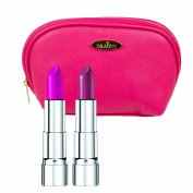 Rimmel Lipstick Kit with Moisture Renew Lipstick in Two Shades, Back to Fuchsia and Berry Rose with Hot Pink Draizee Leather Cosmetic Bag