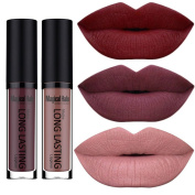 SHERUI Beauty Set of 3 Waterproof Matte Liquid Lipstick Long Lasting Lip Gloss Lipstick
