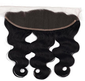SHINING STYLE Free Part Lace Closure with Baby Hair Bleached Knots Body Wave Brazilian Human Hair Extensions 33cm x 10cm Natural Black #1B