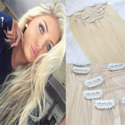 HairDancing 50cm 7pcs 120gram Straight Remy Human Hair Extensions #613 Bleach Blonde Light Clip In Hair Extensions Human Hair Extensions Clip On Hair