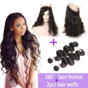 Kapelli Hair 360 degree Lace Band Frontal Closure With 9A Unprocessed Body Wave Brazilian Virgin Human Hair bundles Weft with Natural Hairline & Adjustable Strap