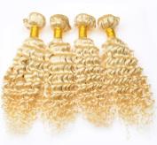 Wigsforyou Brazilian Virgin Hair 613# Colour Deep Wave Human Hair Extensions Weft 2 Bundles 8 20cm