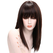 Synthetic Wigs 50cm Straight Highlight Brown Synthetic Wigs Medium Length Wigs For Black/White Women Cosplay Wigs