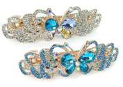 Rhinestone Barrettes - Set of 2 Jewelled Butterfly Hair Clips - Blue and Clear Crystals - Gold Tone Barrett