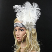 Meiliy Vintage Peacock Gatsby Party Wedding Headband 1920s Flapper Costumes Accessories Peacock Feather Headband